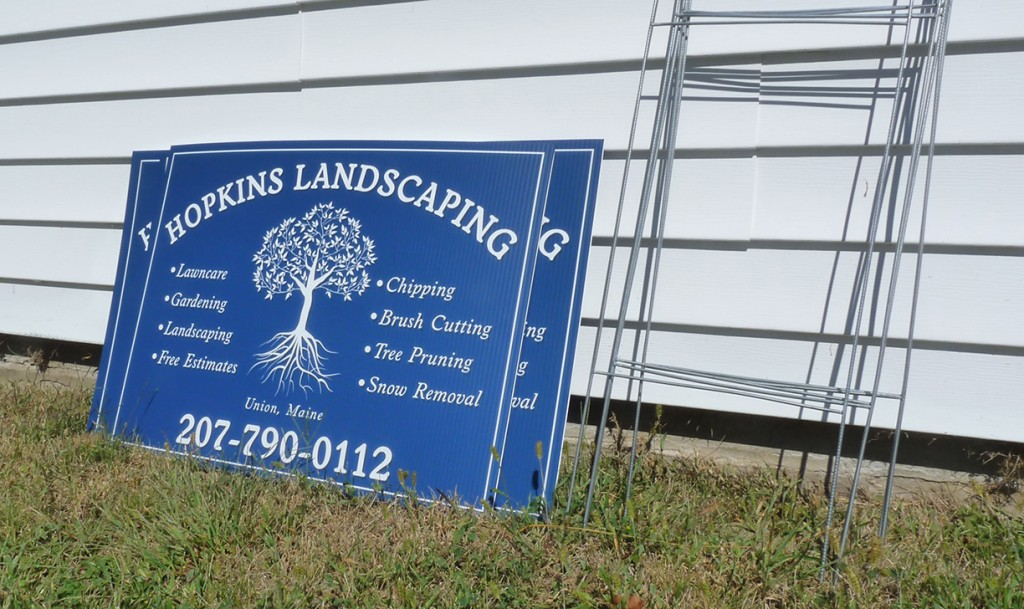Site Signs, Hopkins Landscaping, Maine Printing And Embroidery